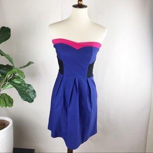Monteau | color-block strapless  dress